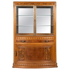 20th Century Walnut Art Deco Display Vitrine Cabinet