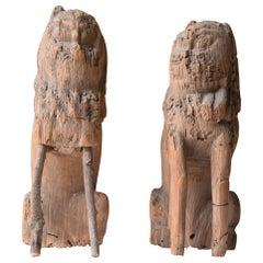 Japanese Old Wood Carving Guardian Dog KOMAINU 1336s-1573s/Antique Wabisabi Art