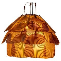 Ingo Maurer Uchiwa Fan Ceiling Lamp in Lacquered Rice-Paper and Bamboo, 1970's