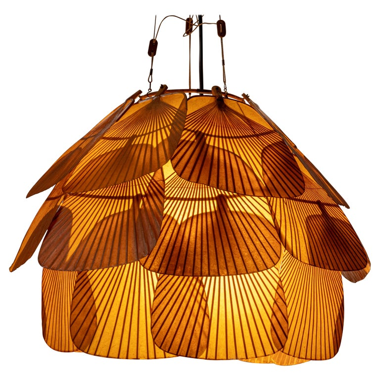 Ingo Maurer Uchiwa Fan Ceiling Lamp in Lacquered Rice-Paper and Bamboo, 1970's For Sale