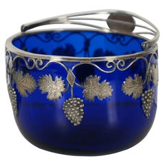 1828 Antique European Sterling Silver 925 Cobalt Glass Candy Sugar Bowl Basket