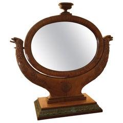 19th Century French Oval Mahogany Dressing Mirror