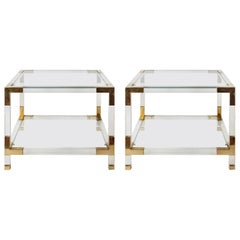 Pair of Mid-Century Italian Plexiglass Side/ Sofa Tables