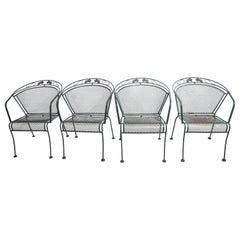 Set of 4 Wrought Iron Garden Patio Poolside Chairs Att. to Woodard