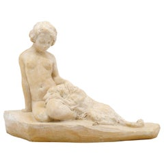 French Art Deco Terra Cotta Young Woman & Greyhound by Pacheco, ca.1930