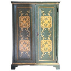 Antique Green and Yellow Painted Double Door Wardrobe, 19th Century Italy