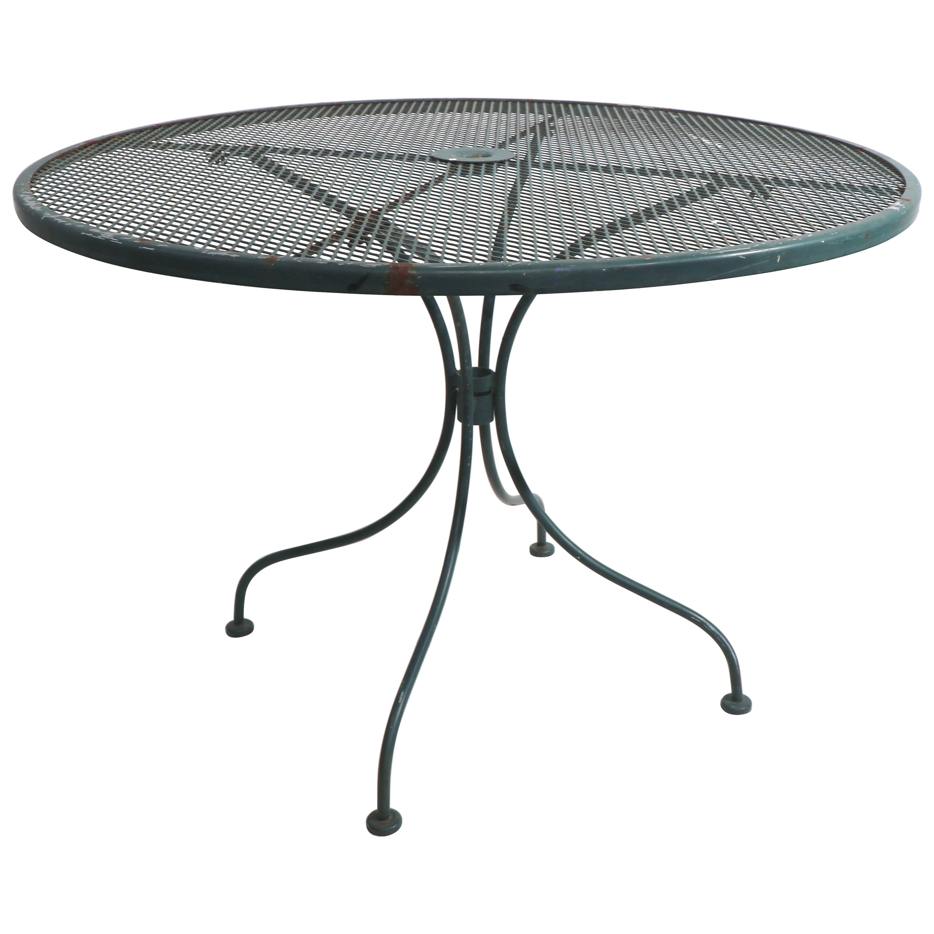 Wrought Iron and Metal Mesh Garden Patio Cafe Dining Table Att. to Woodard