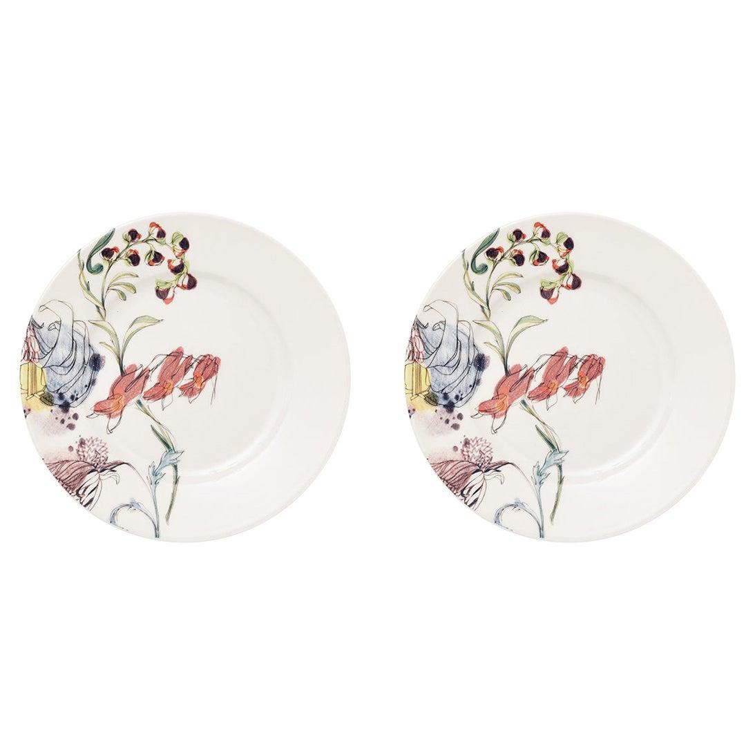 Grandma's Garden, Contemporary Porcelain Dessert Plates Set with Floral Design