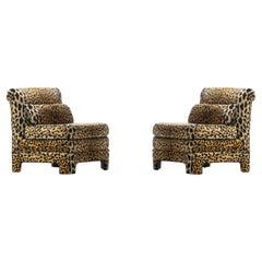 Pair of Billy Baldwin Regency Style Leopard Velvet Slipper Chairs, c. 1970s