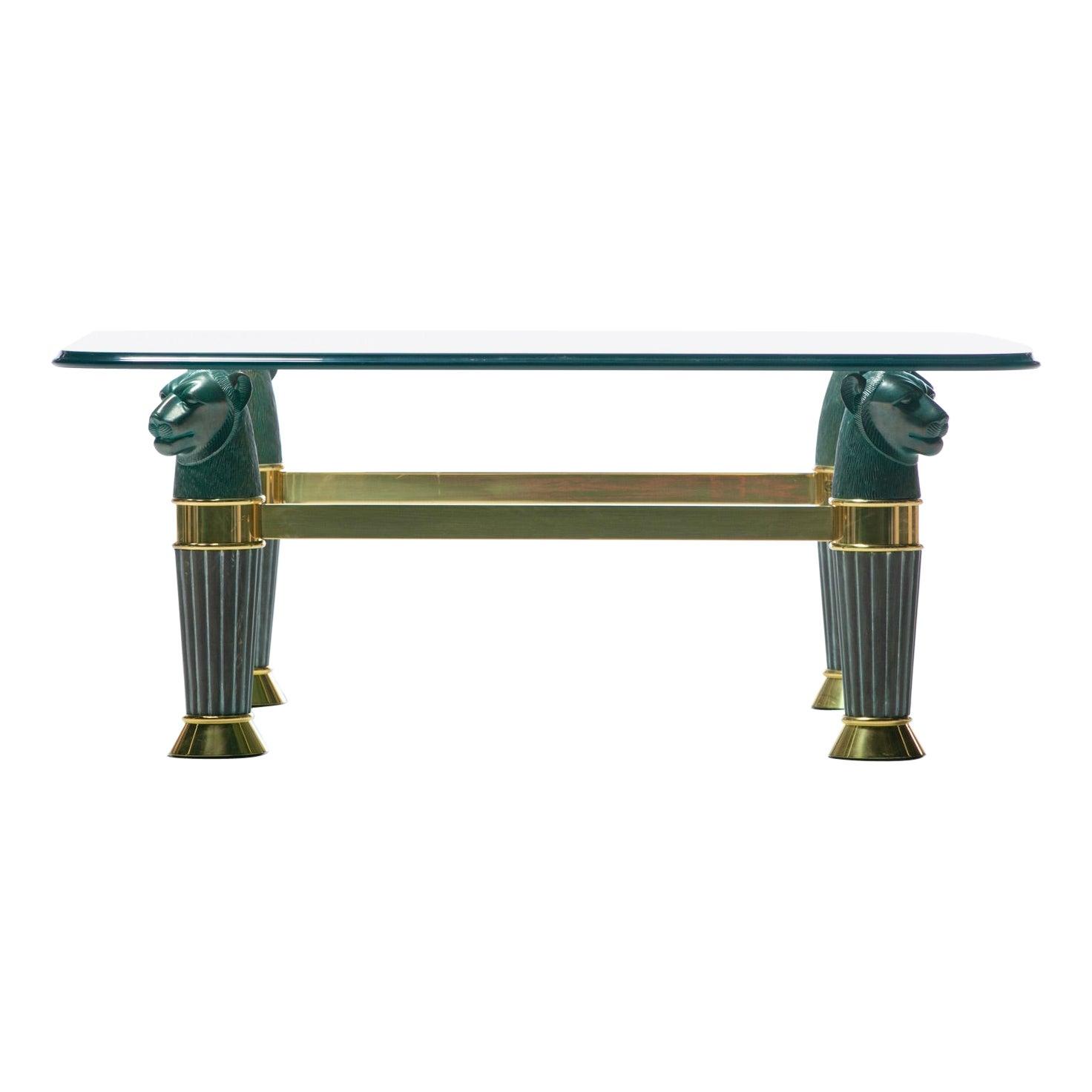 Italian Bronze & Brass Panther Head Coffee Table, c. 1980