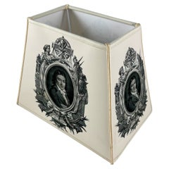 Handmade French Vellum Printed Lampshade, a Neo-Classical Empire Gentleman