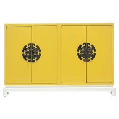 Tommi Parzinger Style Hollywood Regency Yellow & White Cabinet or Console