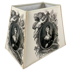 Handmade French Vellum Printed Lampshade, a Neo-Classical Empire Noblewoman