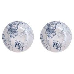 Marie Antoinette, Contemporary Porcelain Bread Plates Set with Floral Design