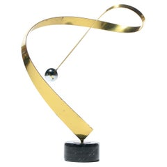 Curtis Jere Post Modern Table Sculpture of Brass Chrome and Marble c. 1985