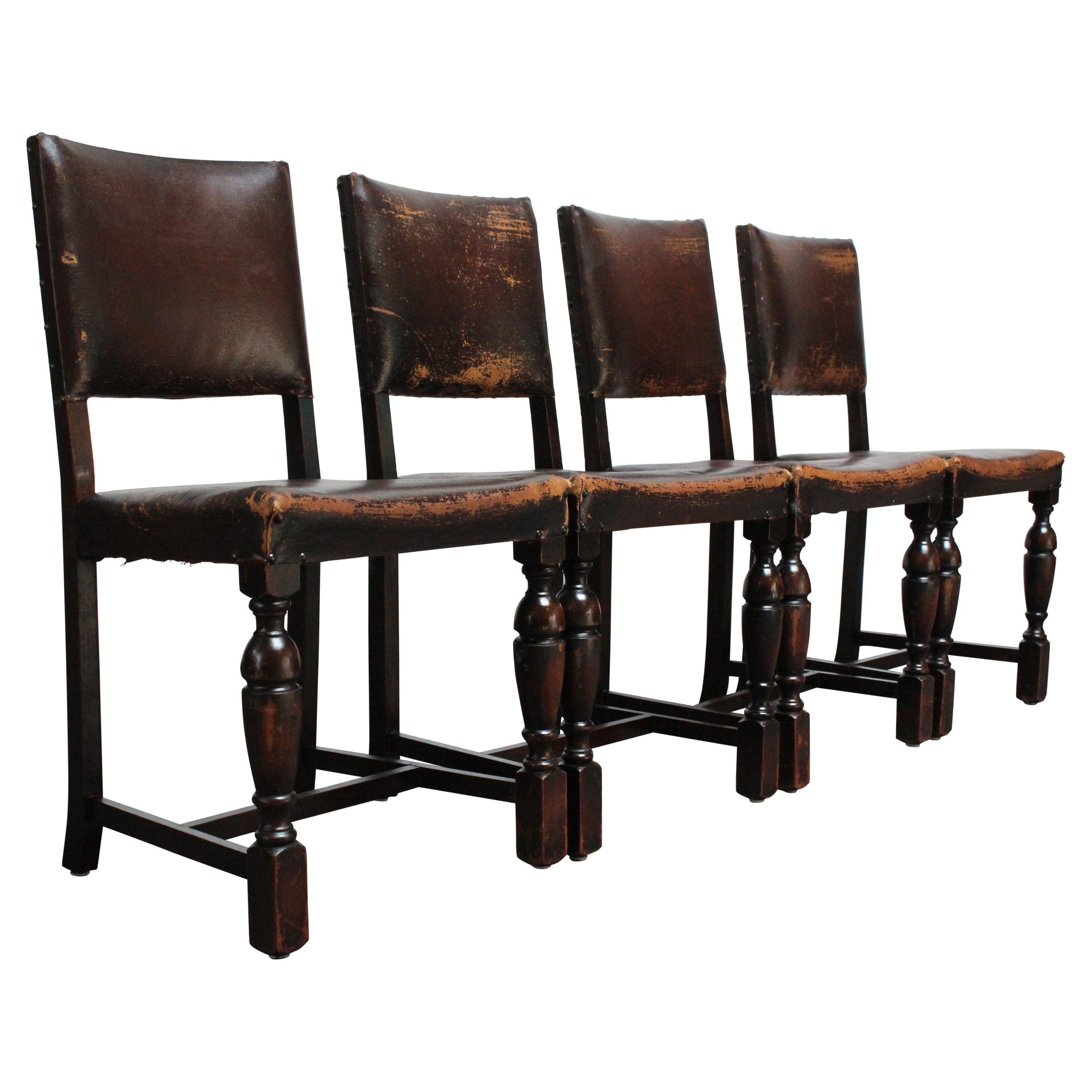Set of Four Vintage Spanish Revival Style Dining Chairs