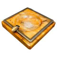 Marbled Stone & Brass Trimmed Square Ashtray Mexico Modernism 1970s Hipster