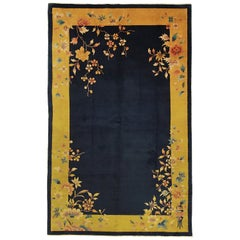 Antique Chinese Nichols Midnight Blue Wool Rug, ca. 1920