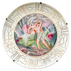 """""""Nudes in Paradise,"""" Spectacular Wall Charger, High Style Art Deco by Sevres"""
