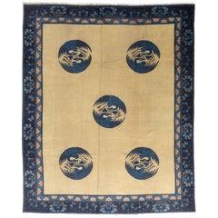 Antique Chinese Beige Field Peking Wool Rug, 1880-1900