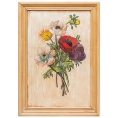Bouquet of Anemones, Oil on Panel, circa 1950, France