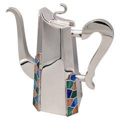 20th Century Italian Silver Coffe, Chocolate Pot Art Decò Style