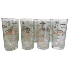 Vintage Set of 8 Marine Life Highball Glasses by Libbey Glass