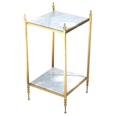 Pair of Maison Jansen Bronze and White Marble Neoclassical Side Table, France