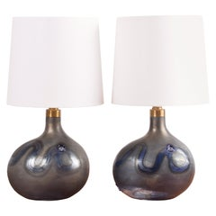 Pair of Michael Bang for Holmegaard Dark Blue Sculptural Glass Table Lamps 1970s