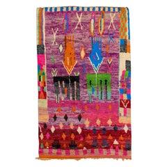 Vintage Boujad Moroccan Handmade Designed Berber Purple Wool Rug