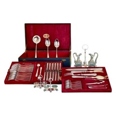 68-Piece Cutlery Set in Silver Metal, 19th Century French Work Christofle