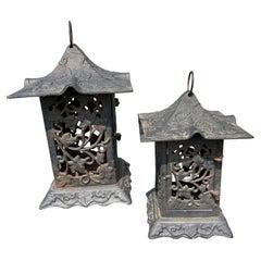 """Japanese Pair Antique """"Natures Green Garden""""  Flower Garden Lanterns"""