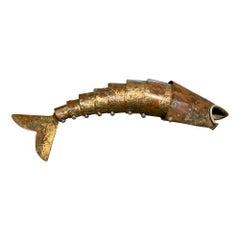 Barware Vintage Fish Bottle Opener Rustic Brass Los Castillo Taxco Mexico, 1960s