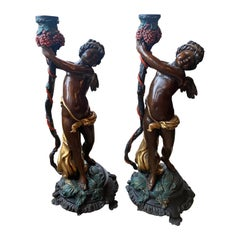Pair of 19th Century Neoclassical Bronze Cherub Statues