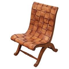 Pierre Lottier Spanish Woven Leather Chair, 1950's