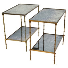 Maison Baguès French Neoclassical Brass & Mirrored Glass 2-Tier Side Table, Pair