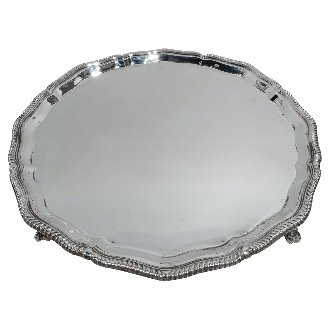 Antique English Neoclassical Sterling Silver Salver Tray