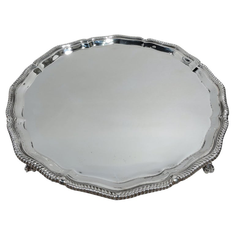 Antique English Neoclassical Sterling Silver Salver Tray For Sale