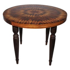 Folk Art Inlaid Side Table with Starburst