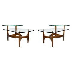 Pair of Vintage Biomorphic Glass End Tables