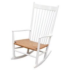 Hans Wegner Rocking Chair with Rattan Seat