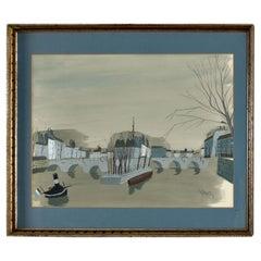 Antoine Villard La Pont Lyon France Bridge Over River Gouache Painting