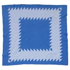 Antique Quilt Blue & White Saw Tooth in a Square