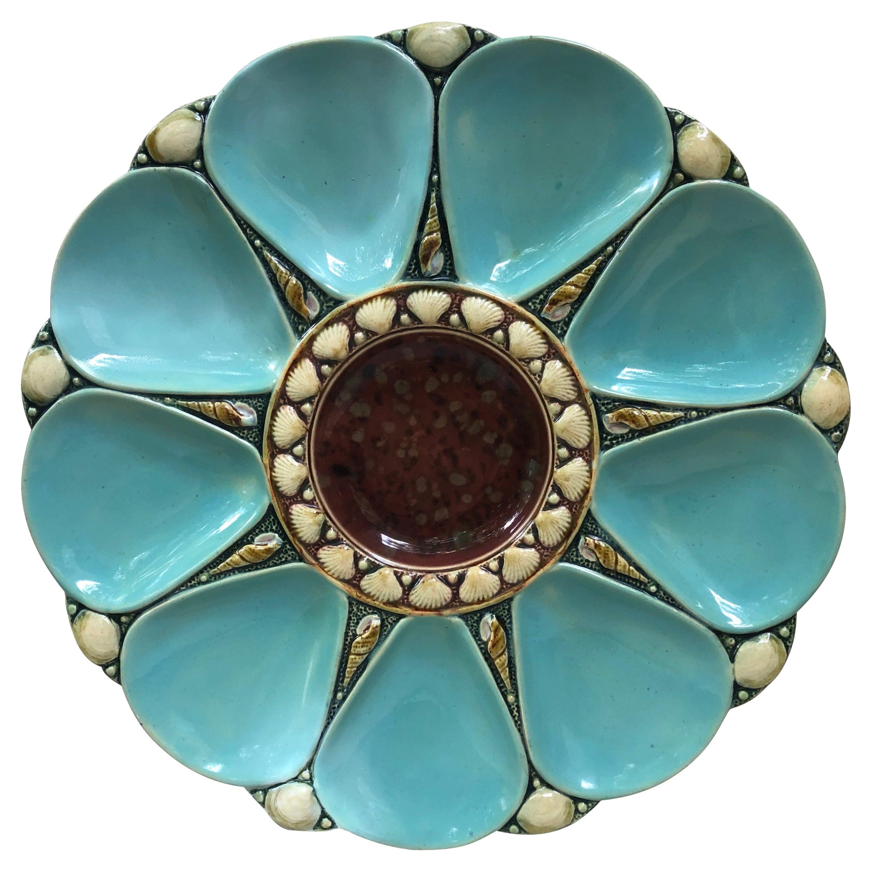 19th Century Majolica Aqua Oyster Plate Minton