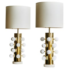 Pair of Polished Brass Table Lamps with Alabaster Spheres