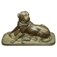 French 19th Century Bronze Signed Waagen of Dog with Huntsman's Kit