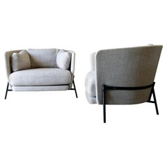 Pair of 'Love Cushion' Armchairs with Ottomans by Neri & Hu for Arflex, Italy
