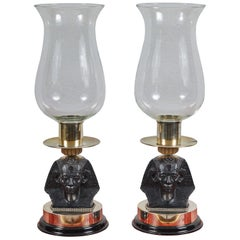 Pair of Egyptian Style Hurricane Glass Candle Holders by Antony Redmile