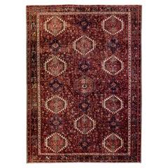 Antique Heriz Persian Handmade All-Over Design Red Wool Rug