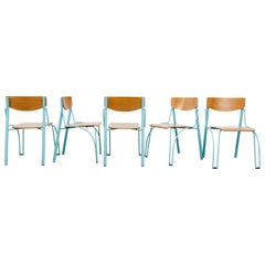 Memphis Style Funky Plywood Stacking Chairs with Turquoise Frames